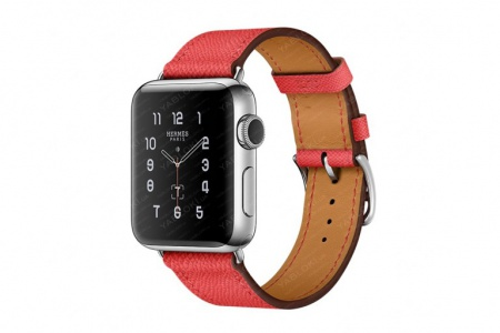 APPLE WATCH HERMES SERIES 2 38MM STAINLESS STEEL CASE WITH ROSE JAIPUR SINGLE TOUR LEATHER BAND (MNQ62)